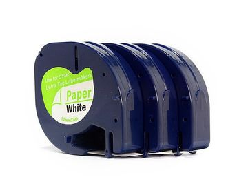 China 91330 Dymo Plastic Label Printer Cartridges White On Black 12mm * 4m Compatible distributor