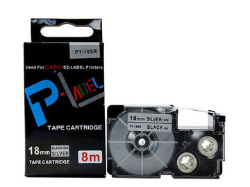 China 18mm Black On Silver EZ Label Tape Cassette  For CASIO XR-18SR EZ Label Printer distributor